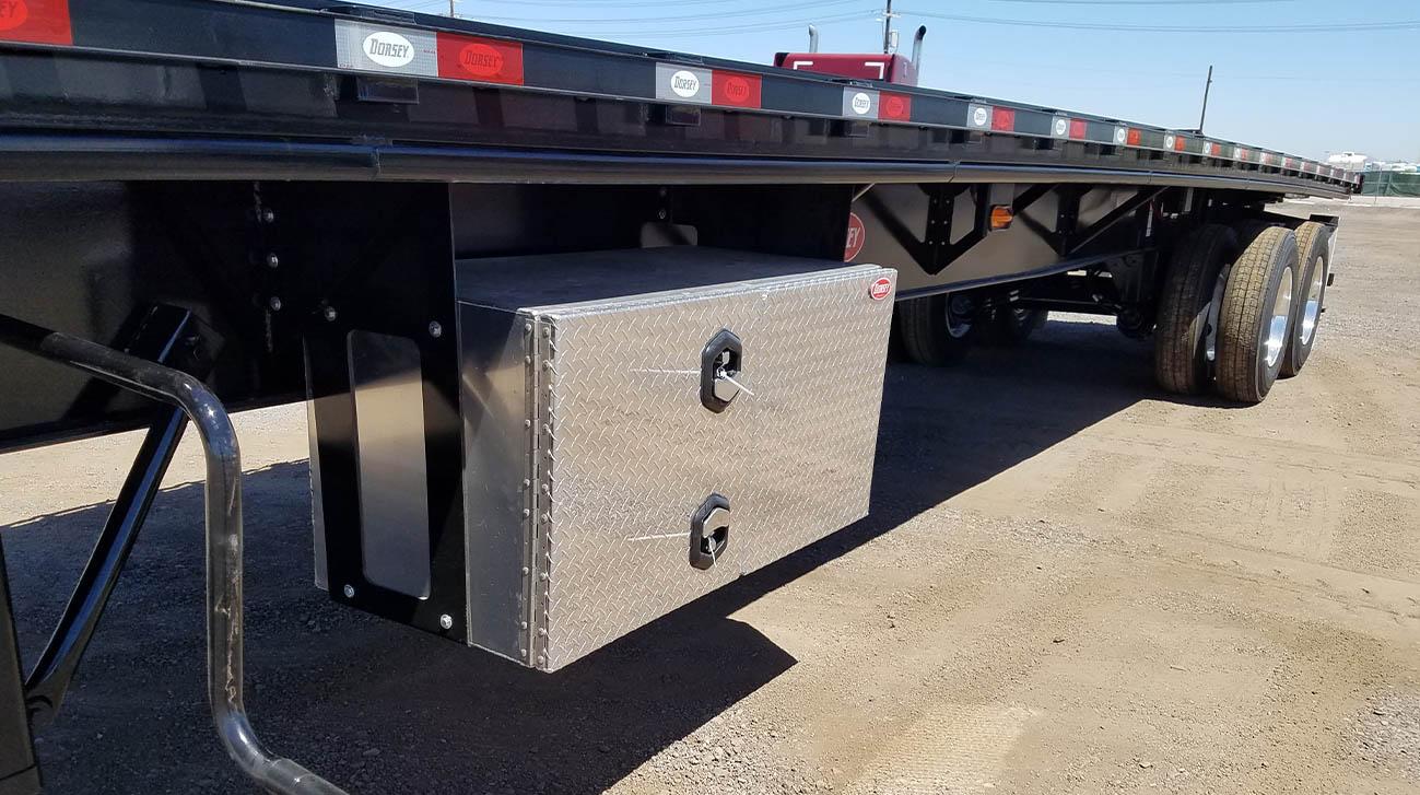 aluminum toolbox on flatbed trailer