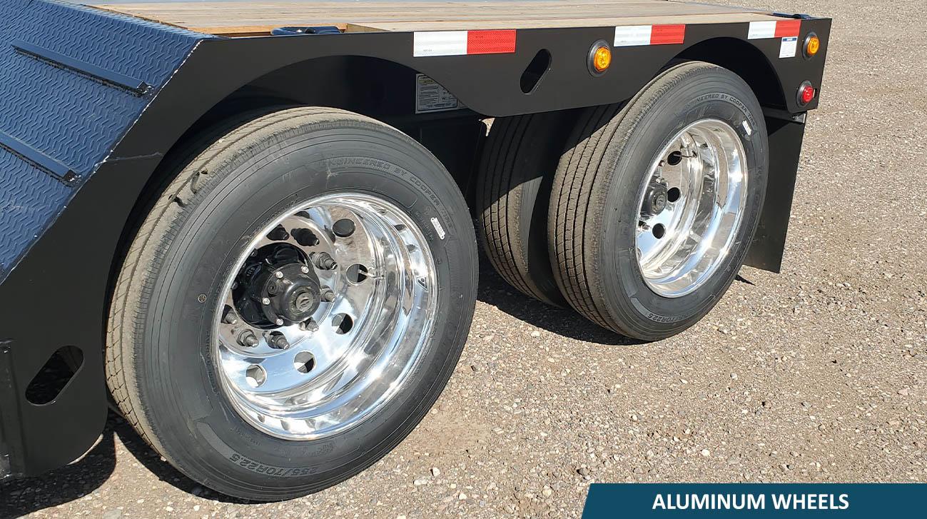 Lowboy trailer aluminum wheels