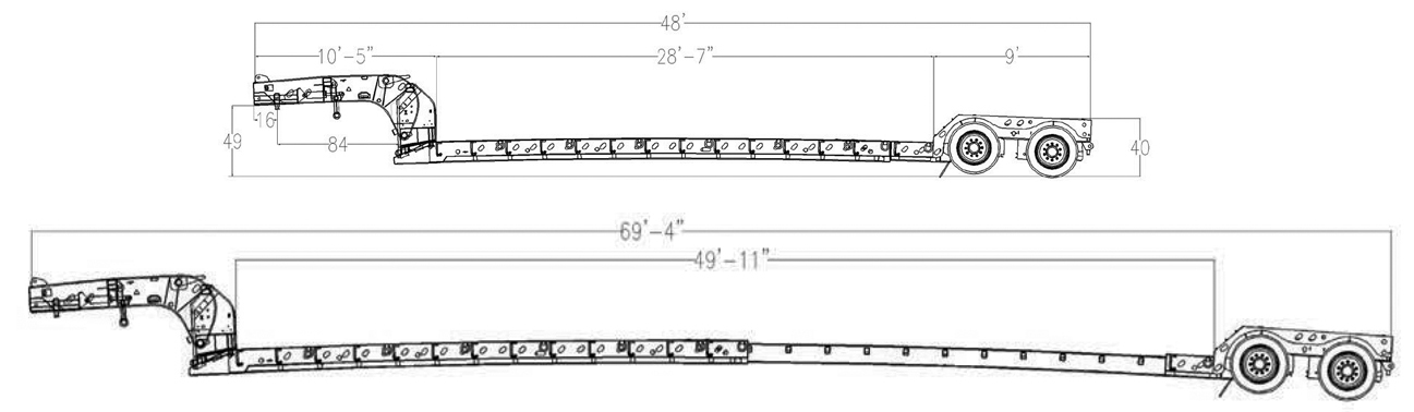 XL Specialized extendable lowboy trailer schematic